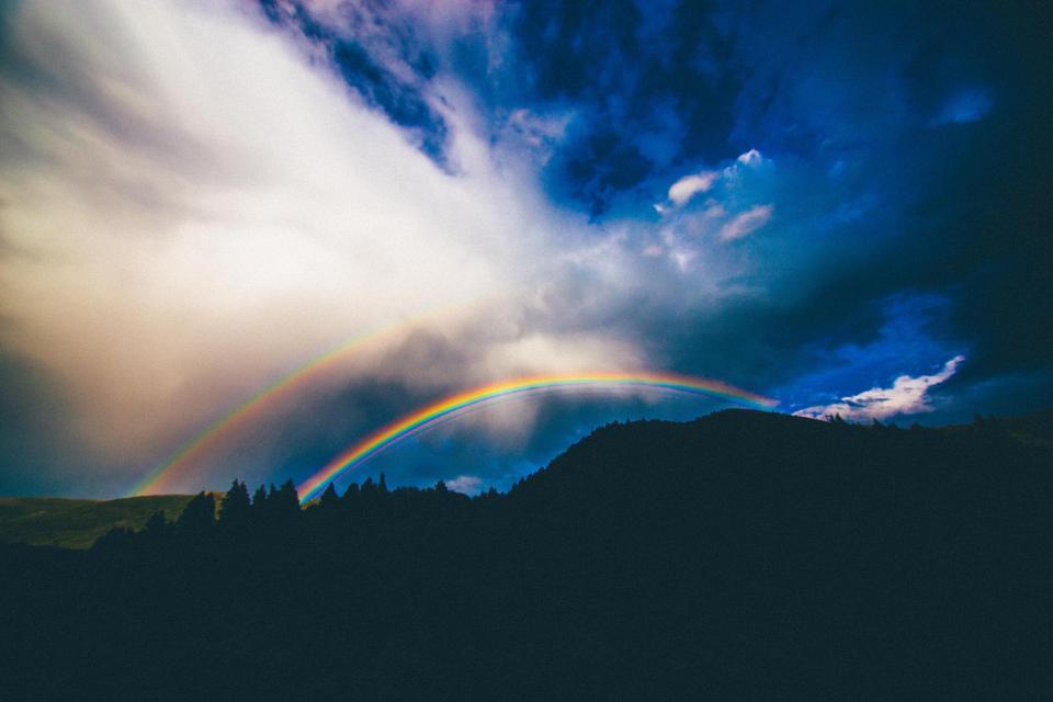 rainbow, sky, clouds, storm, landscape, mountains, nature, silhouette