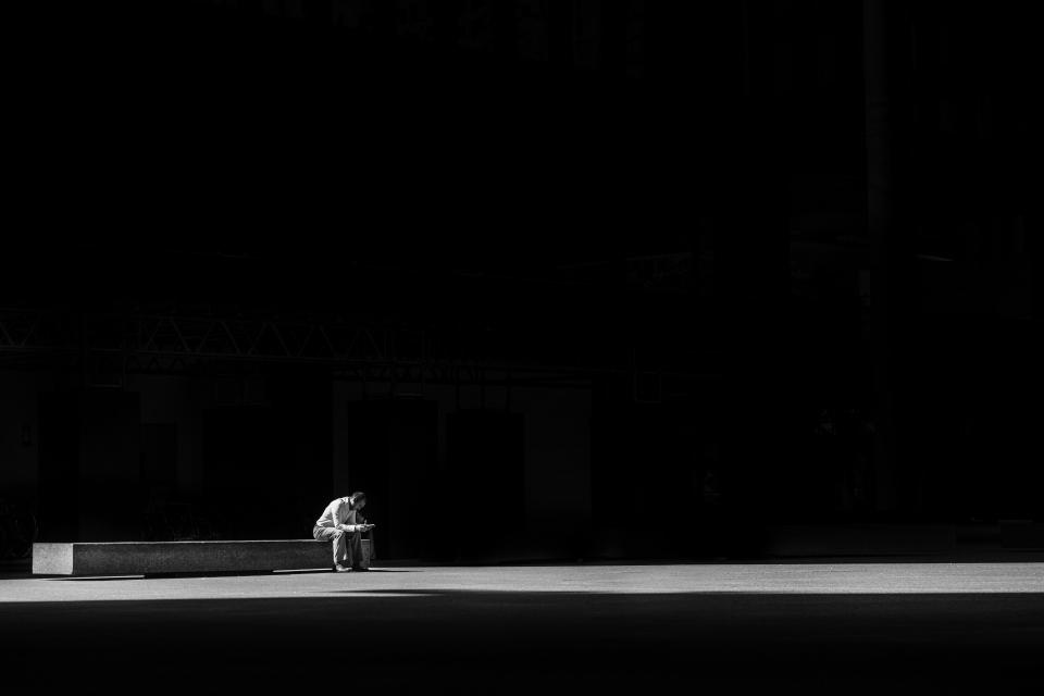 dark man alone thinking light lonely rest shadow people guy