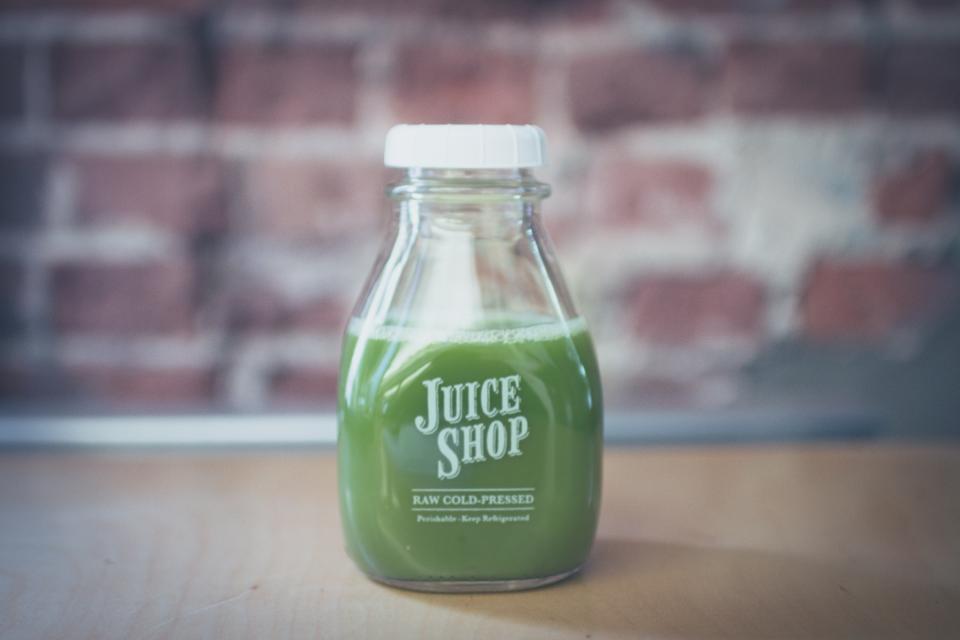 green juice bottle drink