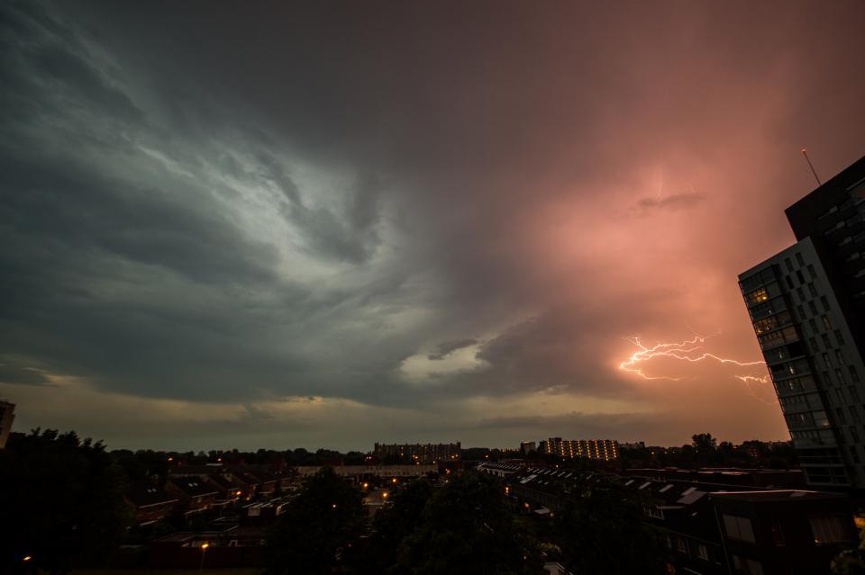 lightning, storm, clouds, cloudy, sky, dark, night, city, cityscape