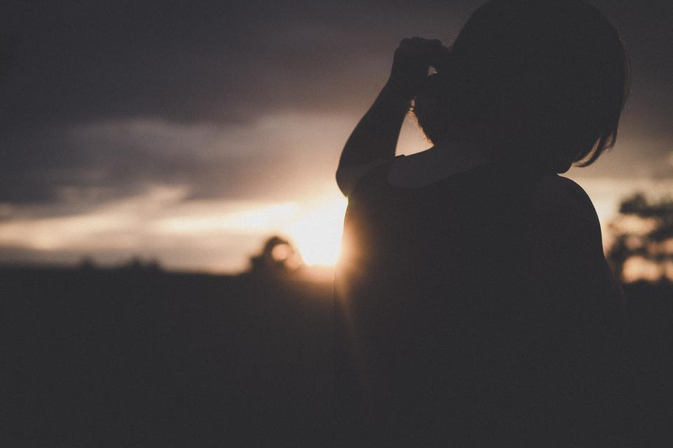 sunlight dark sunset sky cloud blur people alone sad woman thinking silhouette