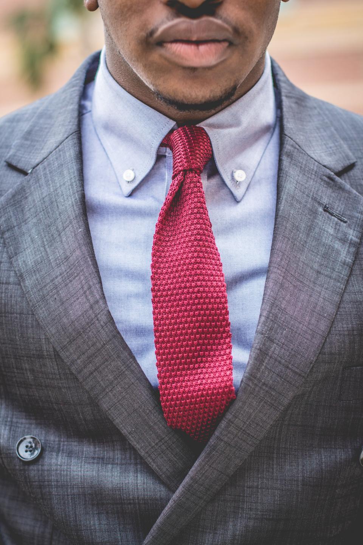 guy, man, fashion, clothing, suit, necktie, red, grey, african american, bokeh