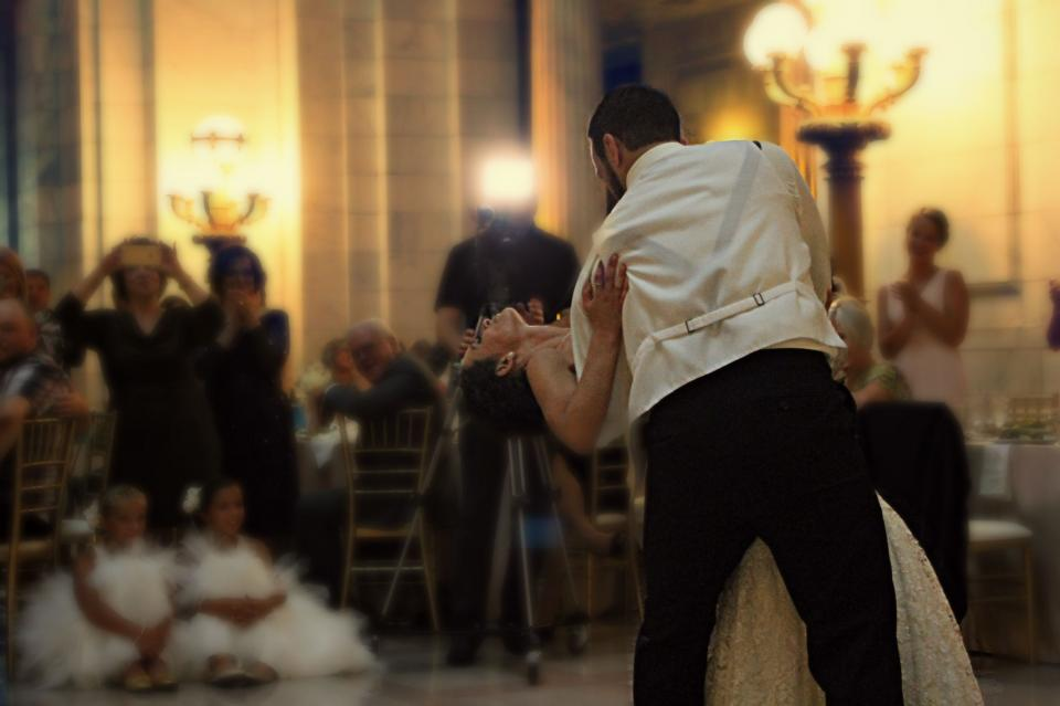 people, couple, bride, groom, dancing, wedding, party, crowd, audience, reception, hall, celebration