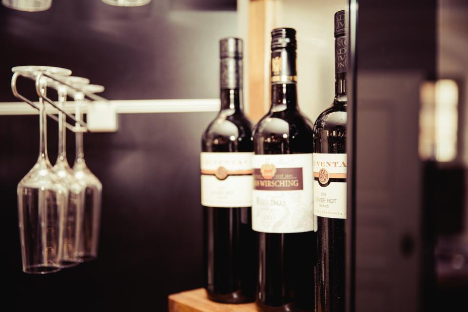 wine bottles glasses alcohol