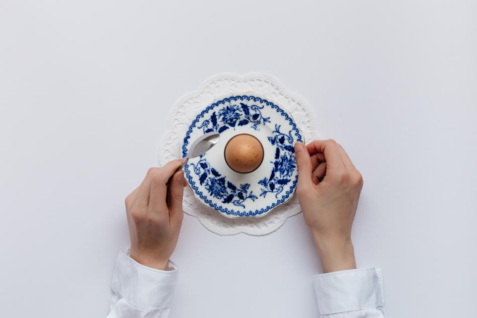 hand ceramic plate egg table
