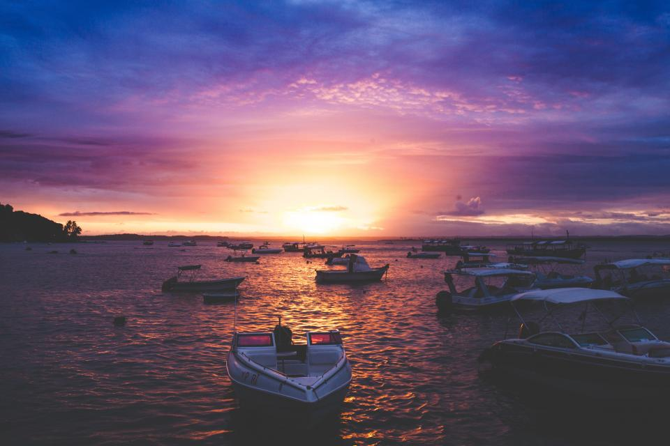 sea, ocean, water, nature, sunset, horizon, sky, cloud, boat, transportation
