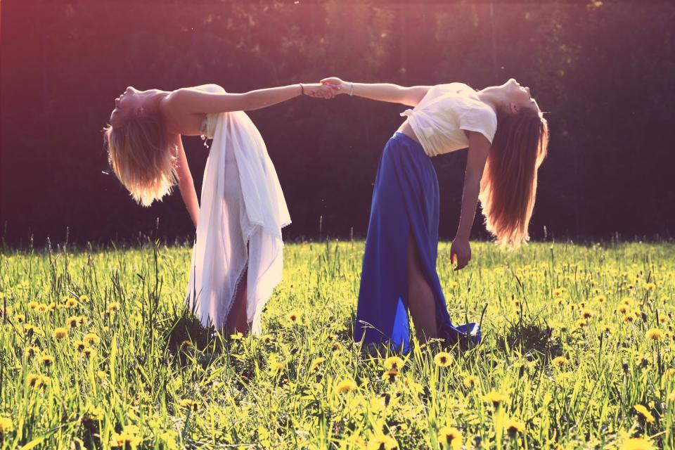 girls, friends, holding hands, dress, fashion, long hair, sunset, field, flowers, grass, people, beauty, smile, smiling, happy, fun