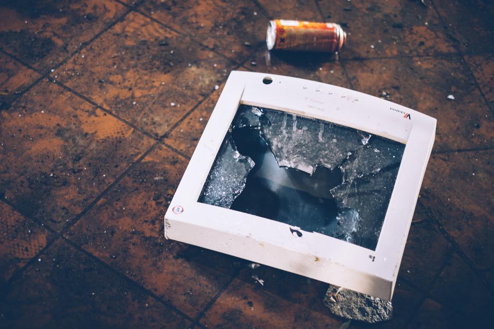 broken, damage, trash, glass, floor, tiles, monitor, computer, technology