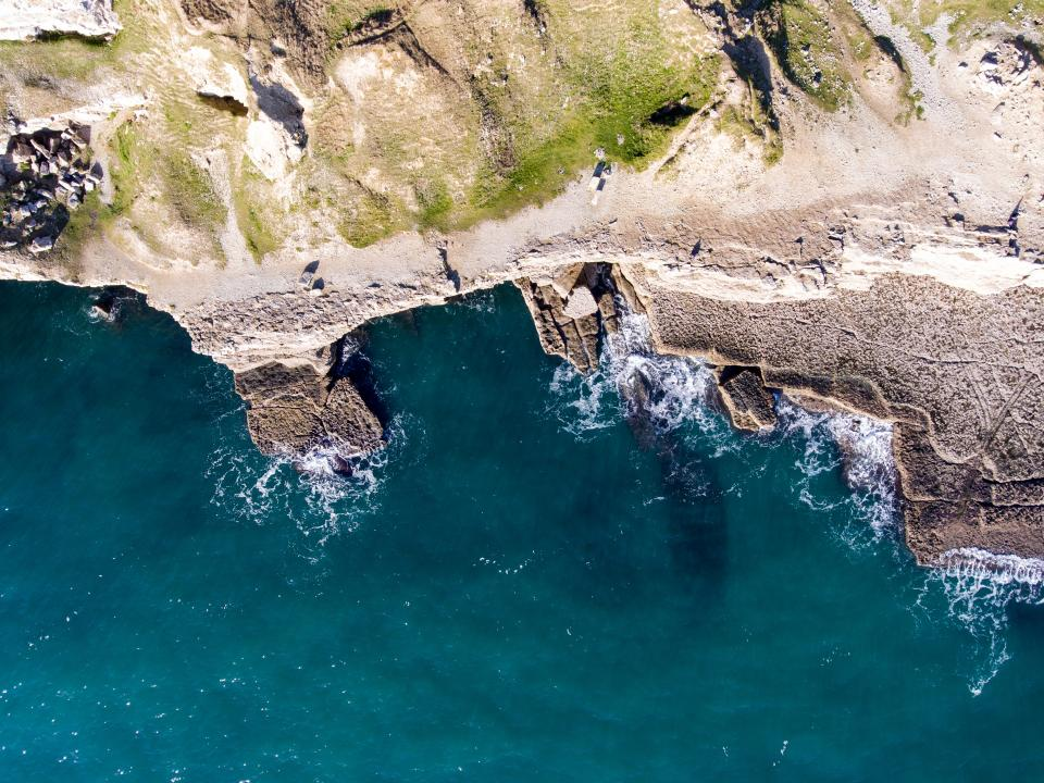 sea, ocean, blue, water, wave, nature, rock, hill, landscape, coast, aerial, view, moss
