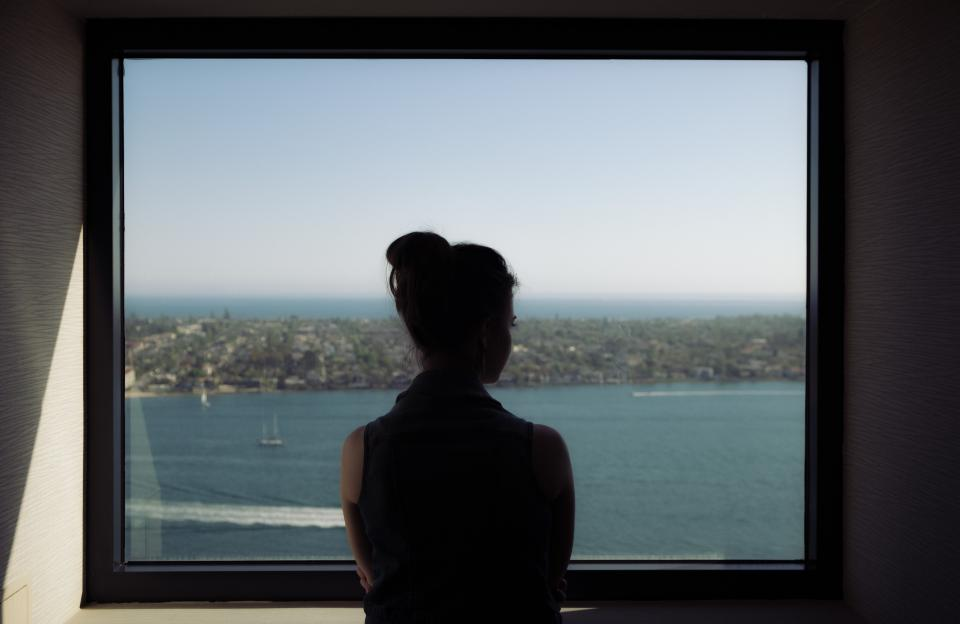 sea, ocean, water, waves, nature, people, woman, girl, sad, alone, window, glass, travel