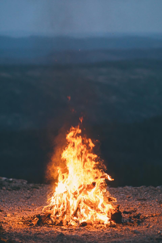 fire, flame, burn, bonfire, campfire, dark, night, camping, light, heat