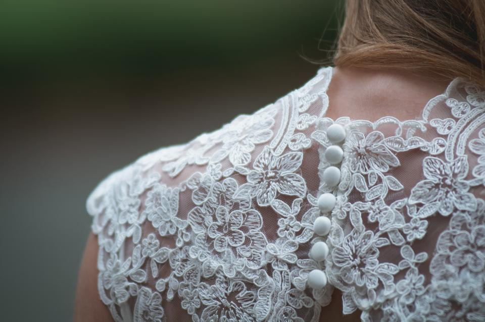 wedding dress wedding bride lace delicate buttons people girl woman beauty