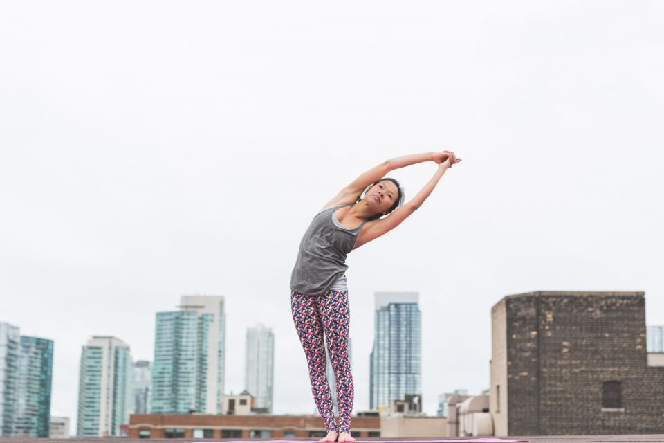 people, woman, girl, yoga, mat, meditation, physical, fitness, healthy, lifestyle, stretching, athlete, exercise, outside, rooftop, buildings, skyline