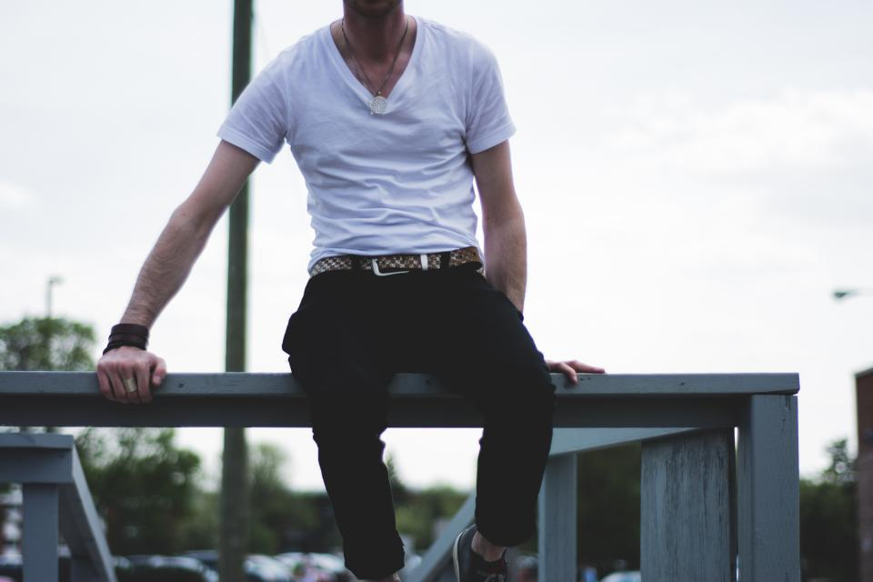 white tshirt vneck fashion guy man people lifestyle sitting pants belt