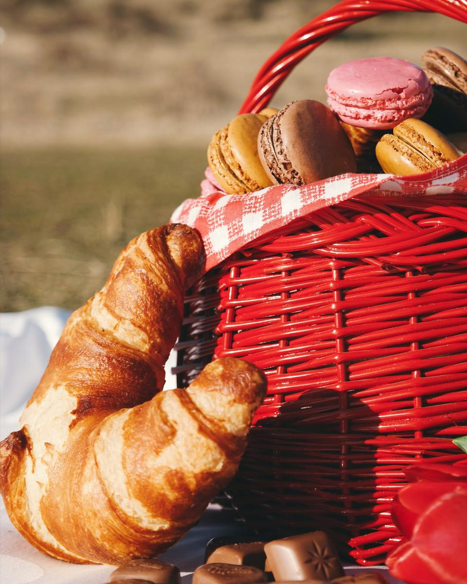 picnic, food, bread, dough, basket, grass, park, chocolate, red, date, bonding
