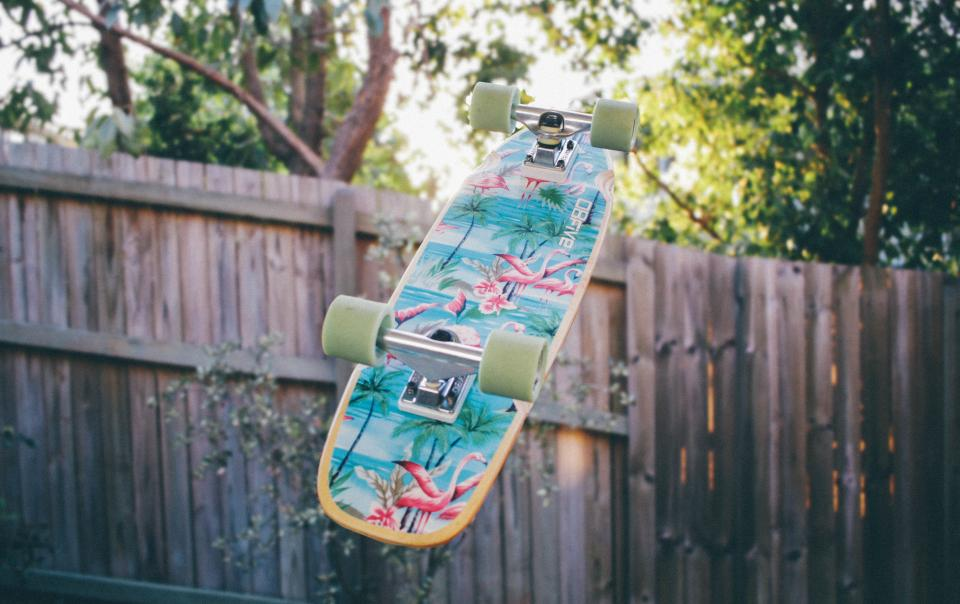 skateboard, backyard, fence, trees, wheels