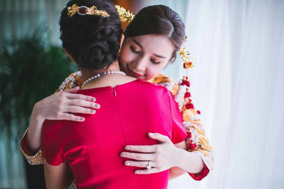 people asian women female hug embrace love wedding celebration makeup hairstyle