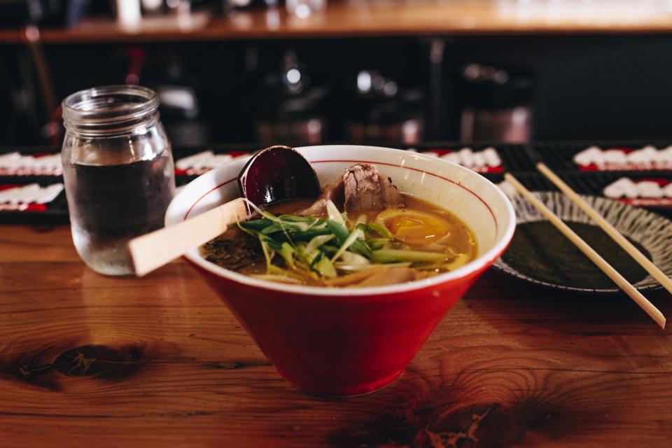 food, soup, dish, restaurants, glass, water, bowl, chopsticks, plate